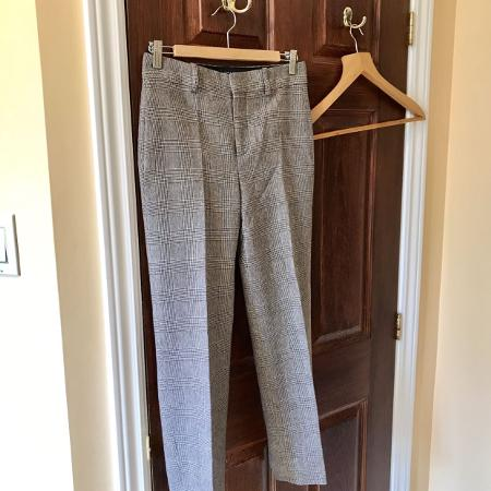 Zara beige chequered trousers US XS for sale  Canada