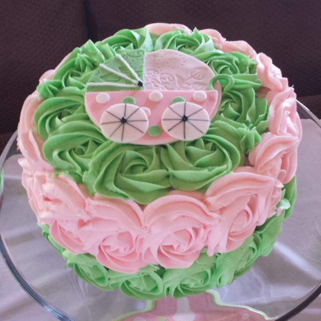 Best Pink And Green Baby Shower Rosette And Baby Carriage Cake For