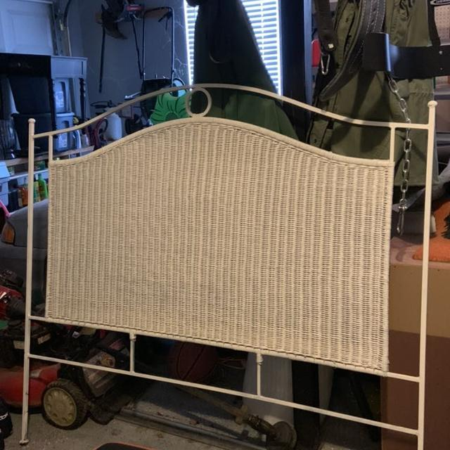 Full size white wicker headboard, dresser, chair, and night stand