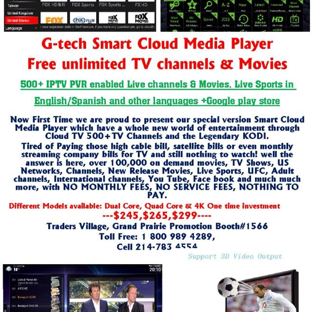 Latest 4k quad core G-tech cloud tv box 500 + live TV channels with IPTV  epg PVR configured for the first time ever