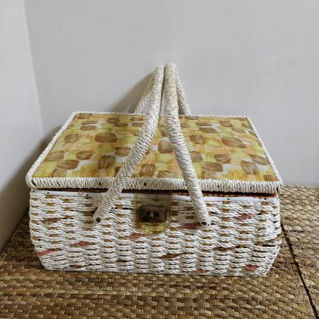 Vintage sewing basket wicker and fabric for sale  Canada