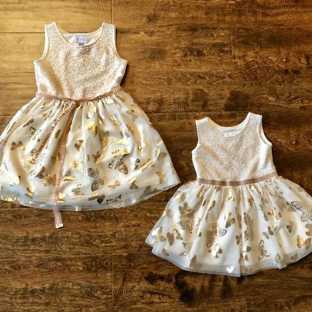 c872a58e67 Children s Place 5 6   3t matching party dresses. Metallic gold sparkle in  top