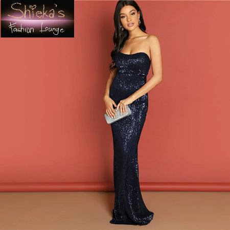 Used, Navy Blue Sequined Maxi Dress for sale  Canada