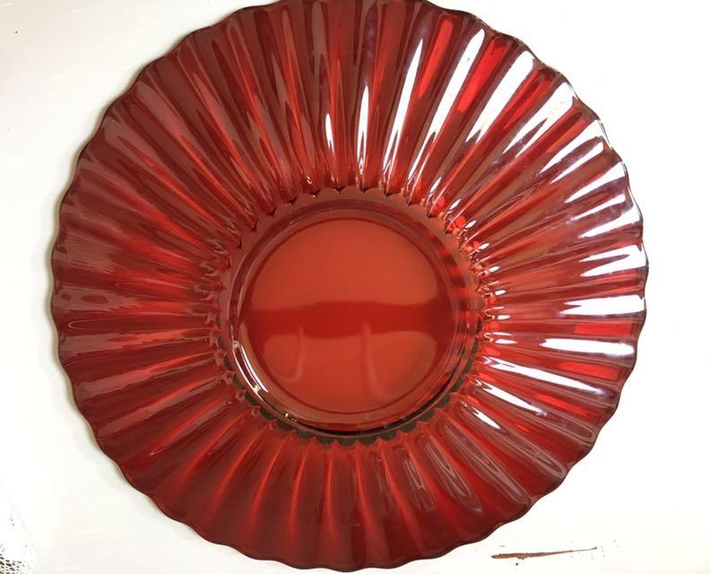 Ruby Red Glass Platter