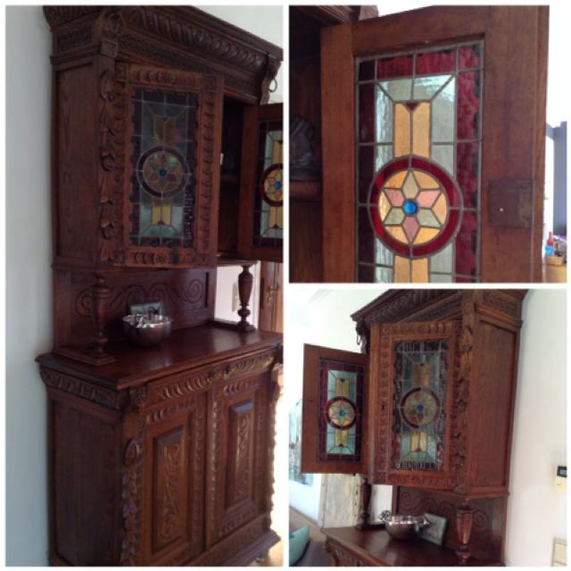 Antique cabinet with stained glass doors - Best Antique Cabinet With Stained Glass Doors For Sale In
