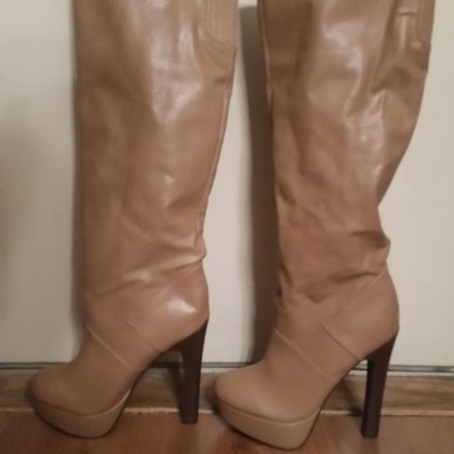 08df9496f5 Best Tan Knee High Platform Stiletto Boots. 5 1 2 Inch Heel And 2 1 2in  Platform. Brand New Condition W out Tags