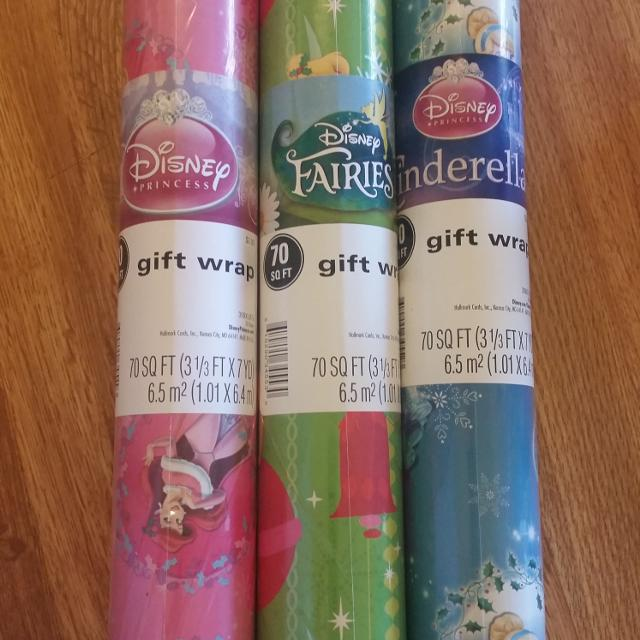 disney princess fairies and cinderella 70 sq ft christmas wrapping paper 150 each