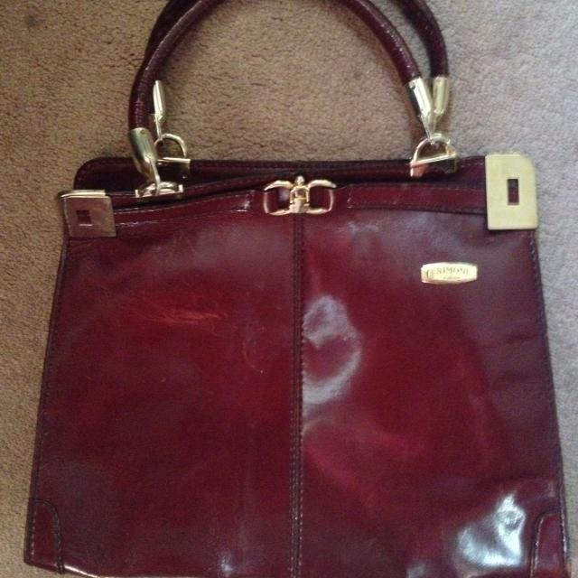 New Price 8made In Italy Burgundy Leather Purse Simone Firenze With Gold Look