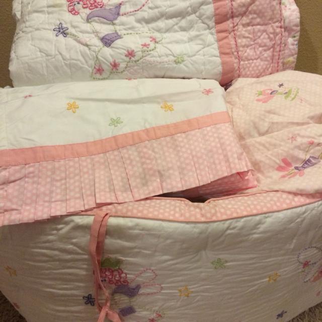 baby girl bedding lot fairies and paisley quilt sheet crib skirt - Baby Girl Bedding