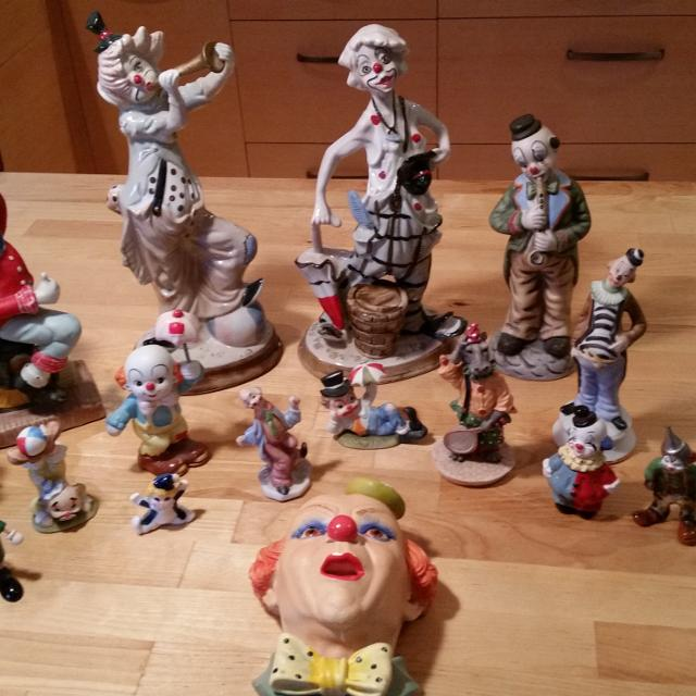 Ceramic Clown Collection - only largest 6 in back row still available