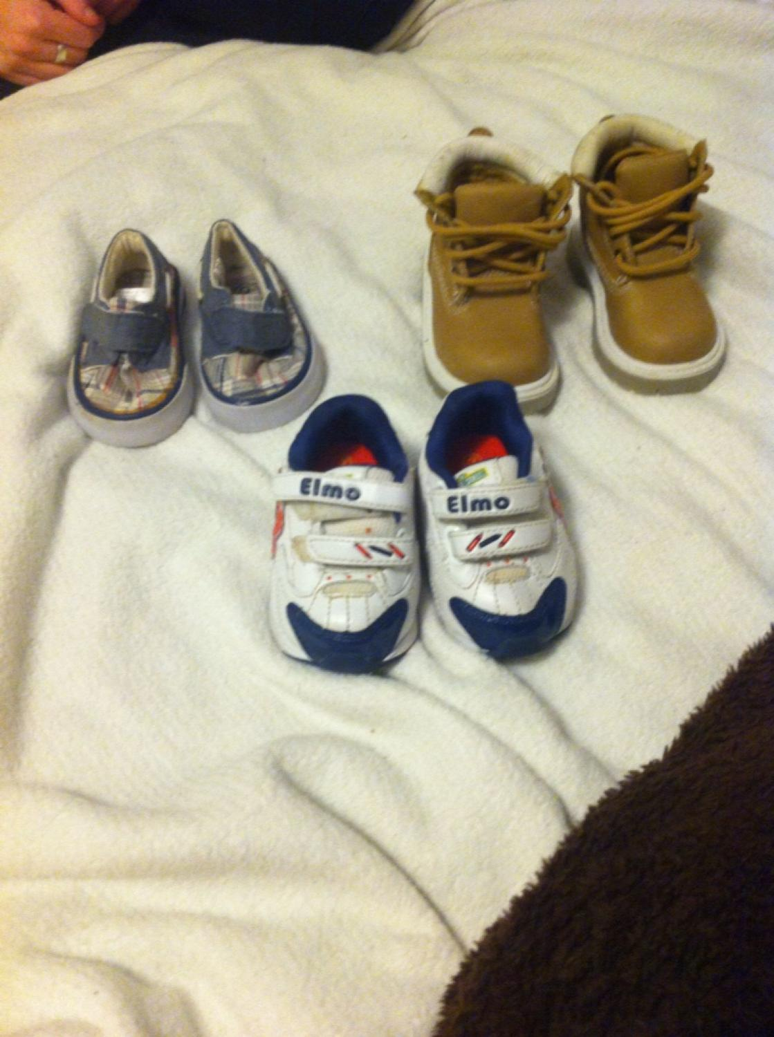 0e209c8c640b8 Baby shoes. Brown boots are size 3 (asking $7) Elmo shoes are size 2  (asking $5) And plaid shoes are size 2 (asking $5)
