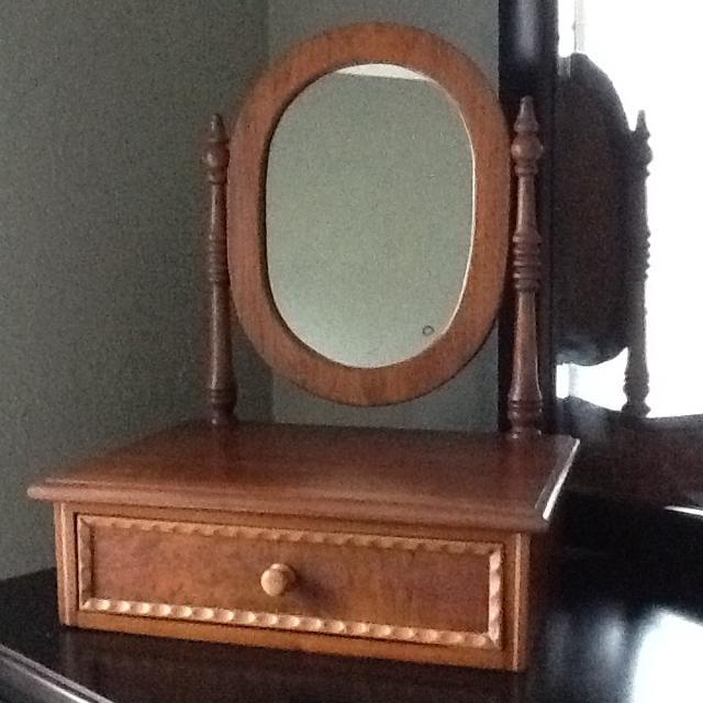 Dresser Top Vanity/Shaving Mirror - Antique Wood with Drawer - Best Dresser Top Vanity/shaving Mirror - Antique Wood With Drawer