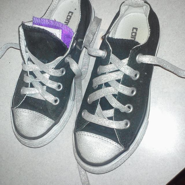 Best Girls Black Converse. Laces And Front Of Shoes Are Silver. Inside Is  Purple And Pink. Size 11 for sale in Key West 8f2cacbae