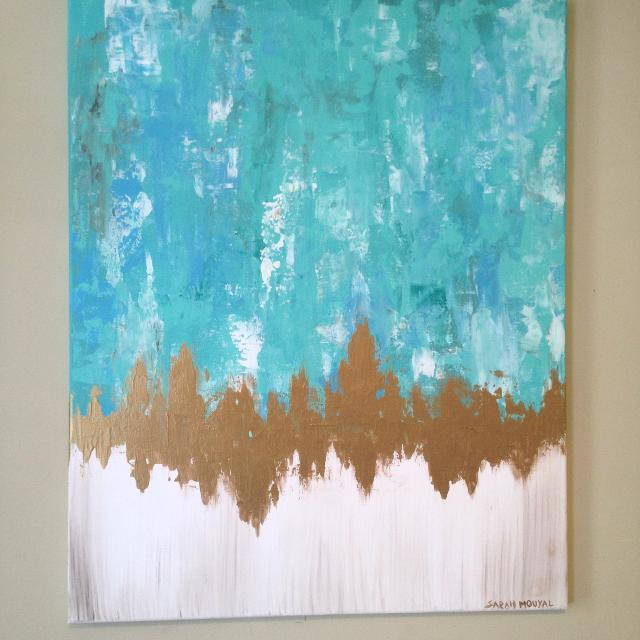 Seafoam Green Blue Gold Abstract Painting