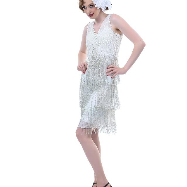 Best Flapper/ Great Gatsby Dress New With Tags Silver/ Ivory Beaded ...