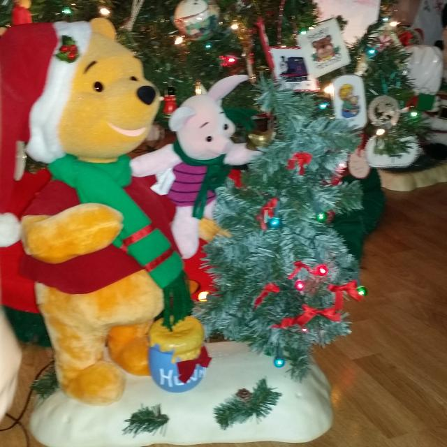 winnie the pooh and piglet moving animated christmas musical figure putting star on top of christmas - Winnie The Pooh Christmas Decorations