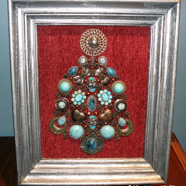 Best Framed Vintage Jewelry Art Southwestern Christmas Tree For