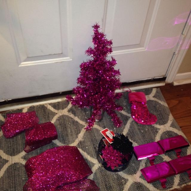 hot pink christmas decor 1 ft pink christmas tree 4 hot pink stocking holders