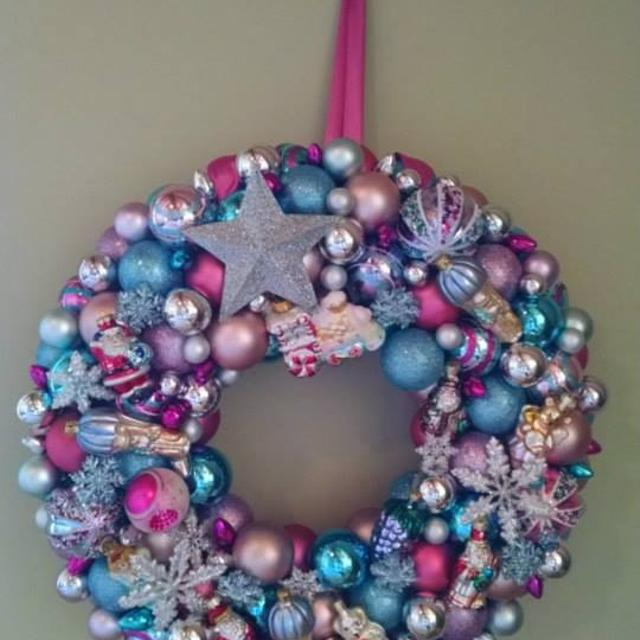 Best Pastel Christmas Ornament Wreath Aqua Pink And Silver Holiday For In Milledgeville Georgia 2019