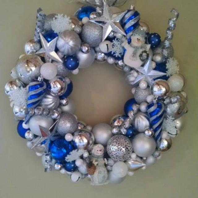 blue christmas ornament wreath white silver and royal blue holiday wreath