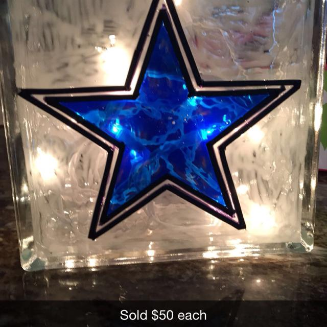 dallas cowboys stain glass block light great for christmas gifts get your orders