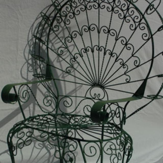 Rare Set 3 Mexican Pea Back Antique Wrought Iron Chair