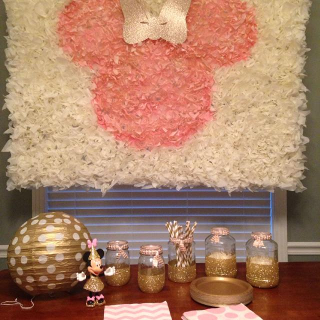 Find More Pink And Gold Minnie Mouse Party Backdrop And Party