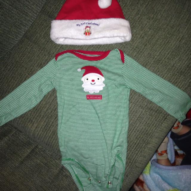 really cute my first christmas outfit with hat