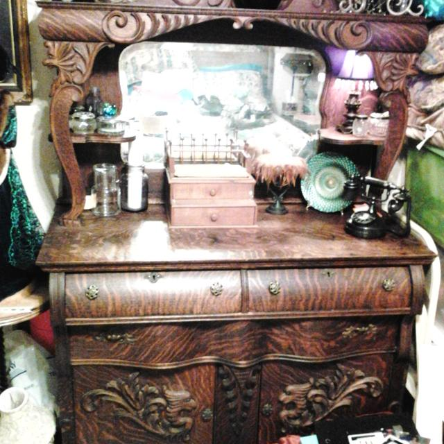 antique tiger oak buffet Find more Antique Tiger Oak Breakfront Hutch Sideboard Buffet  antique tiger oak buffet