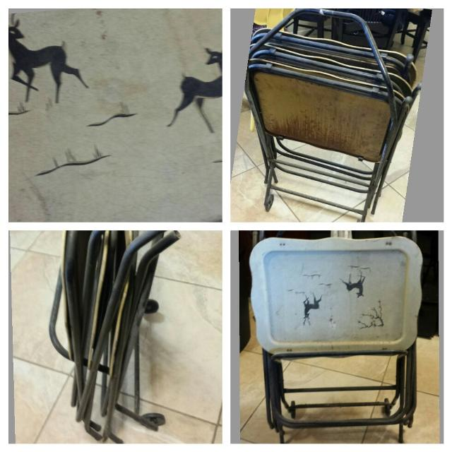 Best Vintage Metal Tv Trays With Stand 3 Trays Stand Had Wheels