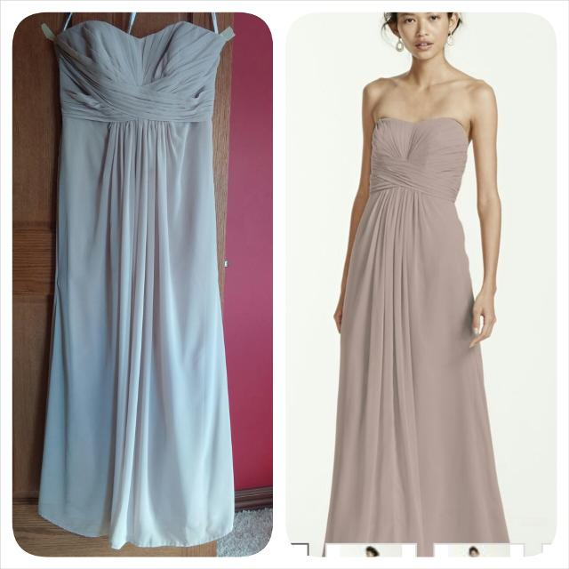 Long Strapless Chiffon Dress With Pleated Bodice Biscotti