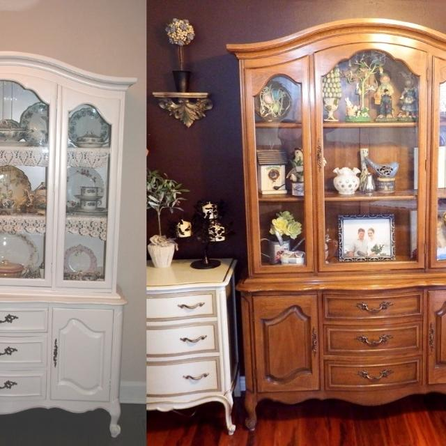 Vintage Shabby Chic French Provincial China Cabinet Hutch Breakfront Sideboard