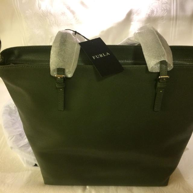 721292567899a Best Brand New Furla Olive Green D-light Large Leather Tote High Quality  Made In Italy  175 Firm No Holds for sale in St. Helens