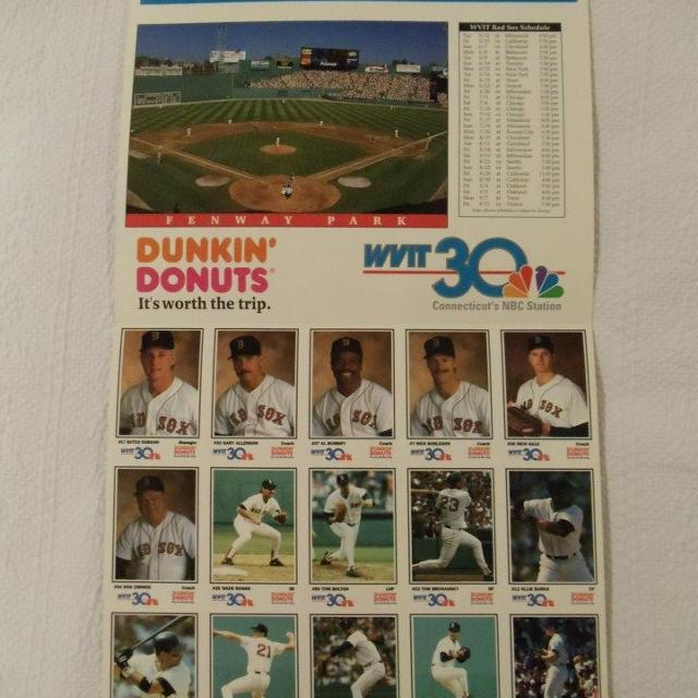 1992 Boston Red Sox Dunkin Donuts Promotional Baseball Cards Schedule