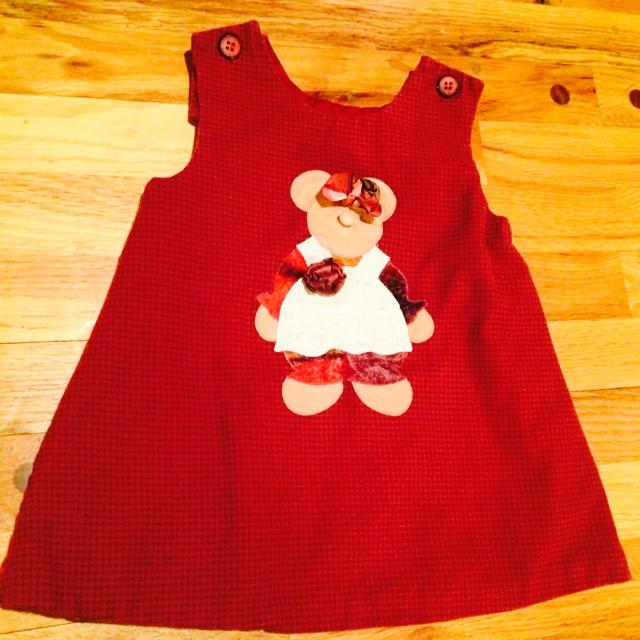 Chocolate Soup Brand Dark Red w/Gingham Pattern Teddy Bear Dress