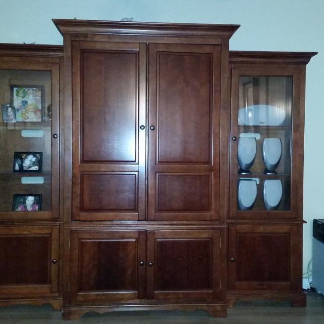 Solid Cherry Wood 3 Piece Entertainment Center