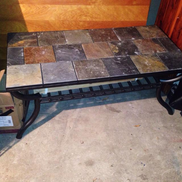 Reduced Cast Iron With Slate Tile Coffee Table