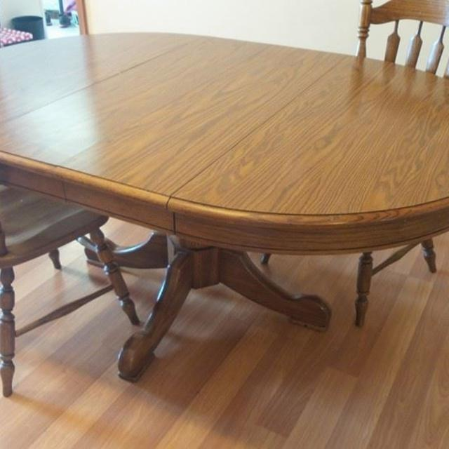 Best tell city solid oak pedestal dining room table with 4 chairs for sale in lafayette - Where can i buy dining room chairs ...