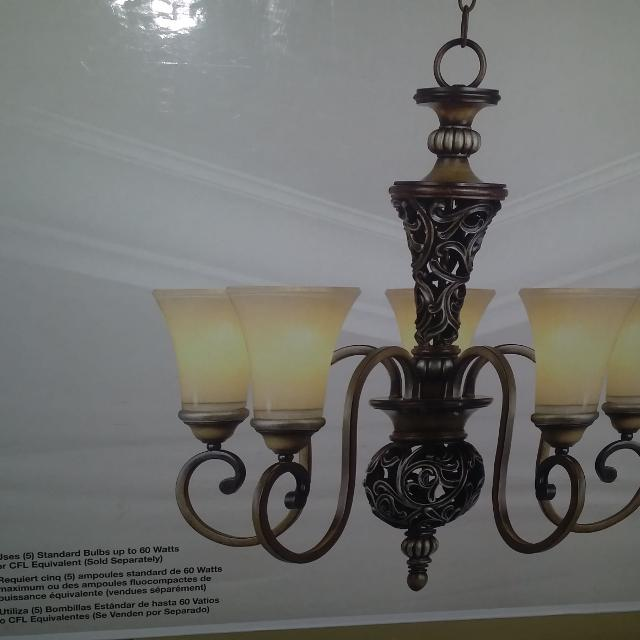Hampton Bay Caffe Patina Chandelier With 5 Lights Brand New In The Box