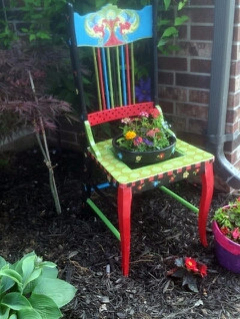 Garden Chair Planter Garden Art Funky Painted Furniture OOAK Whimsical  Garden Furniture Painted Garden Furniture Made To Order
