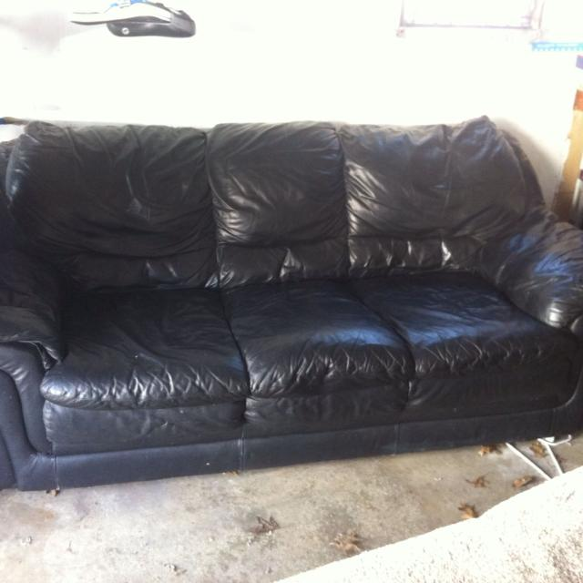 Black leather couch - used