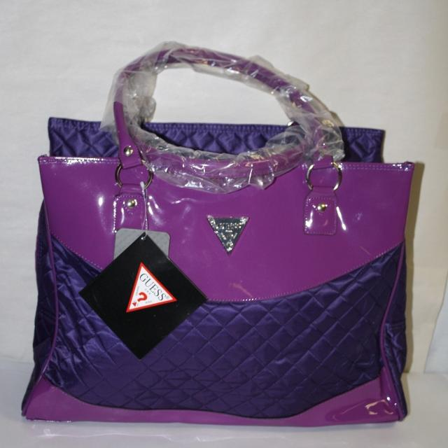 c46335f49a8 Find more Brand New With Tags Guess Purple Quilted Tote Bag purse ...