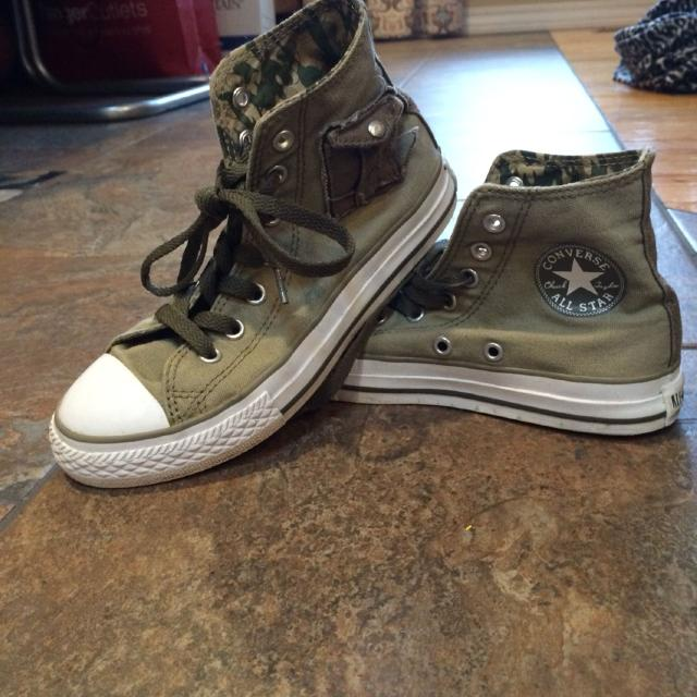 80d573a6bd88 Find more Girls Converse All Stars Size 2 - Army Green! for sale at ...
