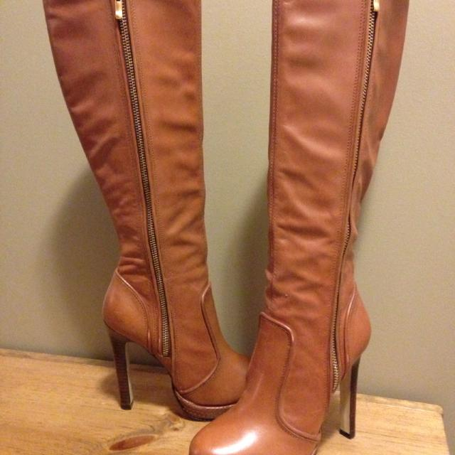 various design shades of incredible prices Best Aldo Brown Leather Boots With Gold Zipper On The Outer Side ...