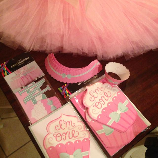 1st Birthday Party Decor High Chair Tutu And Banner 17 Invitations 8 Decorative Cupcake Holders Wraps Hobby Lobby