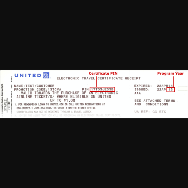 Find More 500 Travel Certificate For United Airlines For Sale At Up