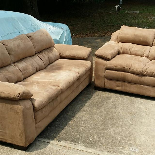 Suede Leather Couch And Love Seat
