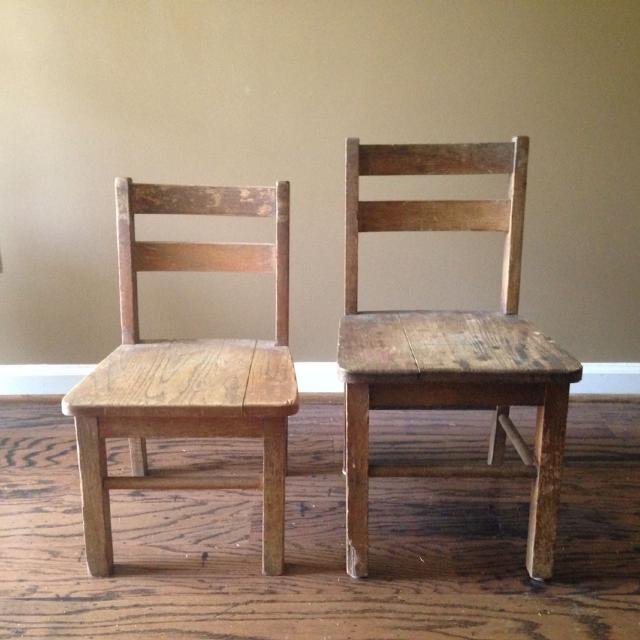 Antique Wood Youth Chairs