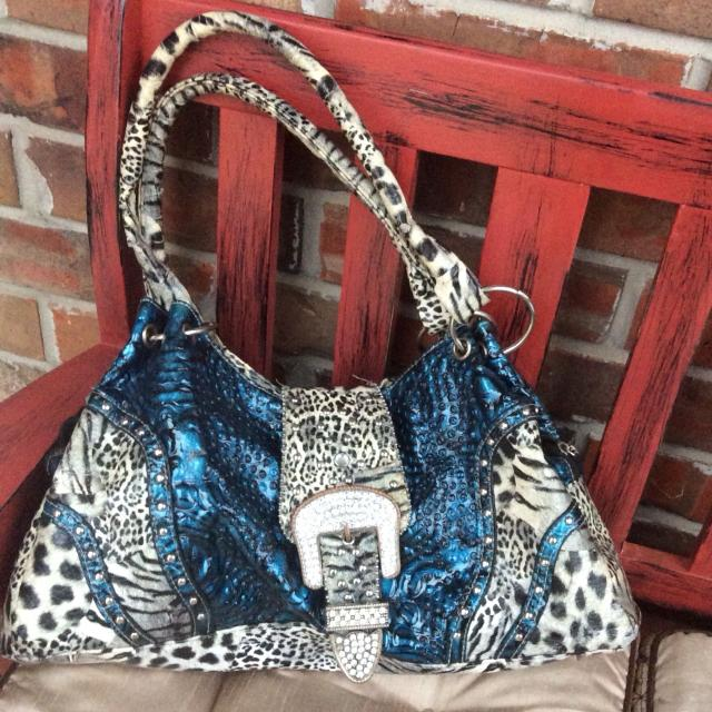 Find More Blue Black White Animal Print Purse 5 For Sale At Up