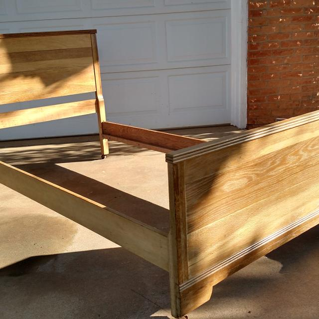 antique twin oak bed frame with metal casters - Oak Bed Frame
